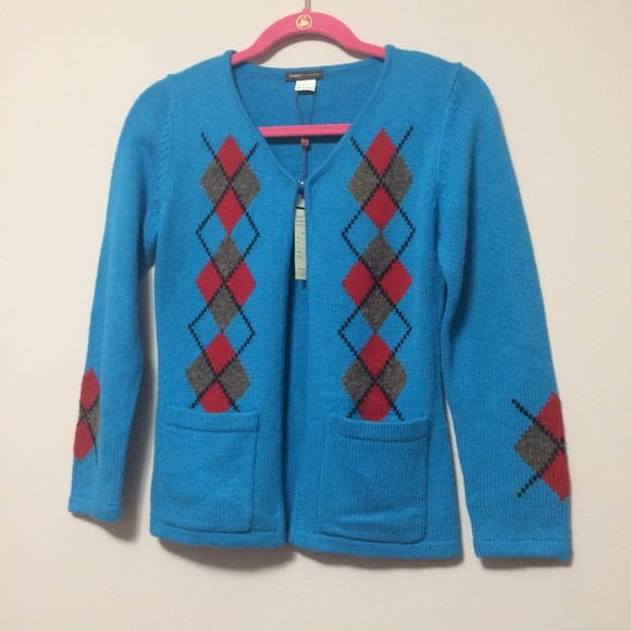 Open Front Cardigan Sweater Turquoise Argyle Front 3f8e31895